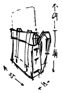 Dimensions grand sac marcel Gregory Capel atelier de maroquinerie à Roubaix